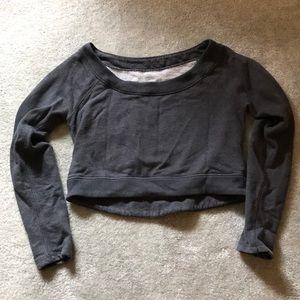 Lululemon grey crop good karma sweater barre yoga